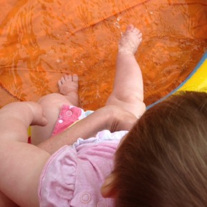 baby, paddling pool, splashing, summer