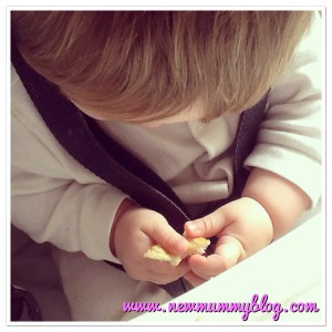 Baby led weaning toast crumbs and mess