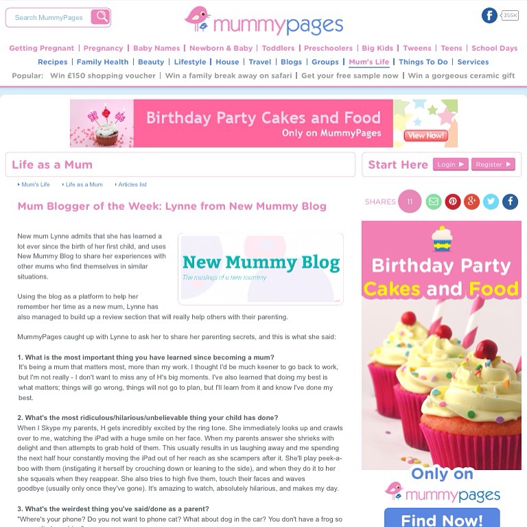 newmummyblog is mummypages blog of  the week