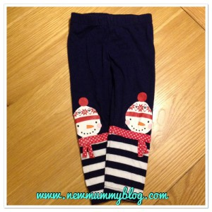 new mummy blog 5 under 5 - snowman leggings