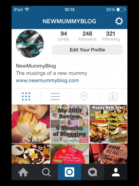 New Mummy Blog Instagram Screenshot