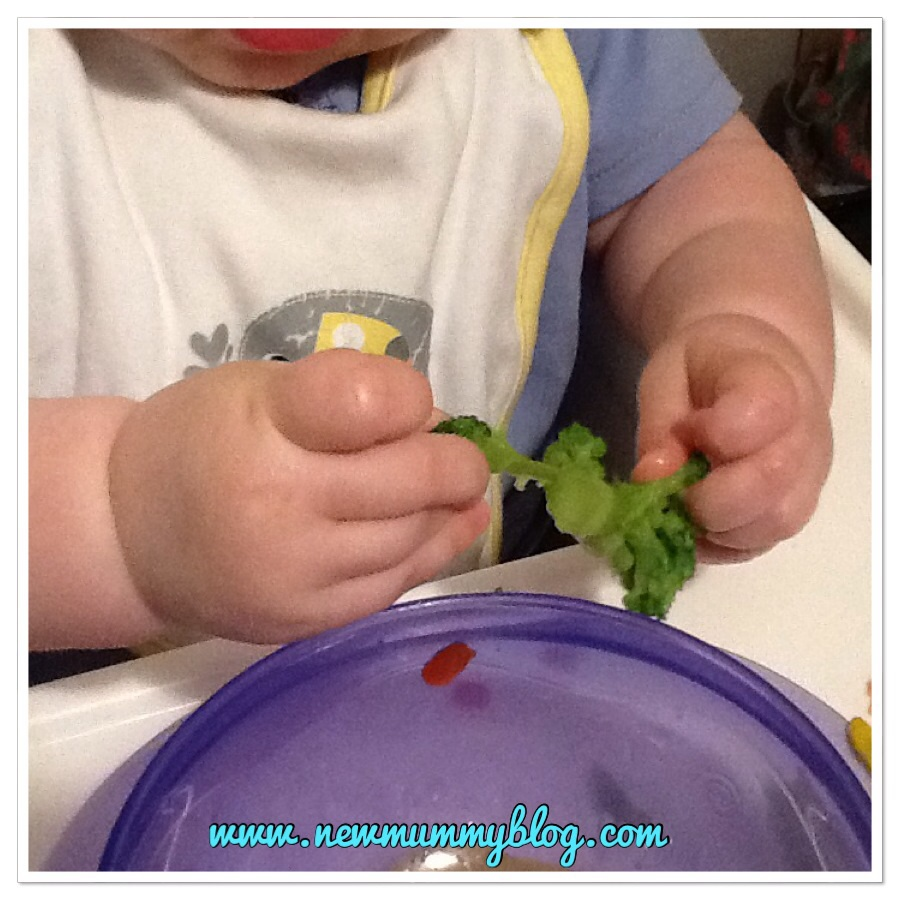 Things I didn't expect when baby turned one self feeding broccoli