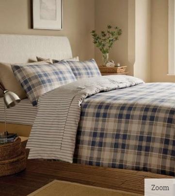 Tartan Blue - Flannelette Duvet Cover Set