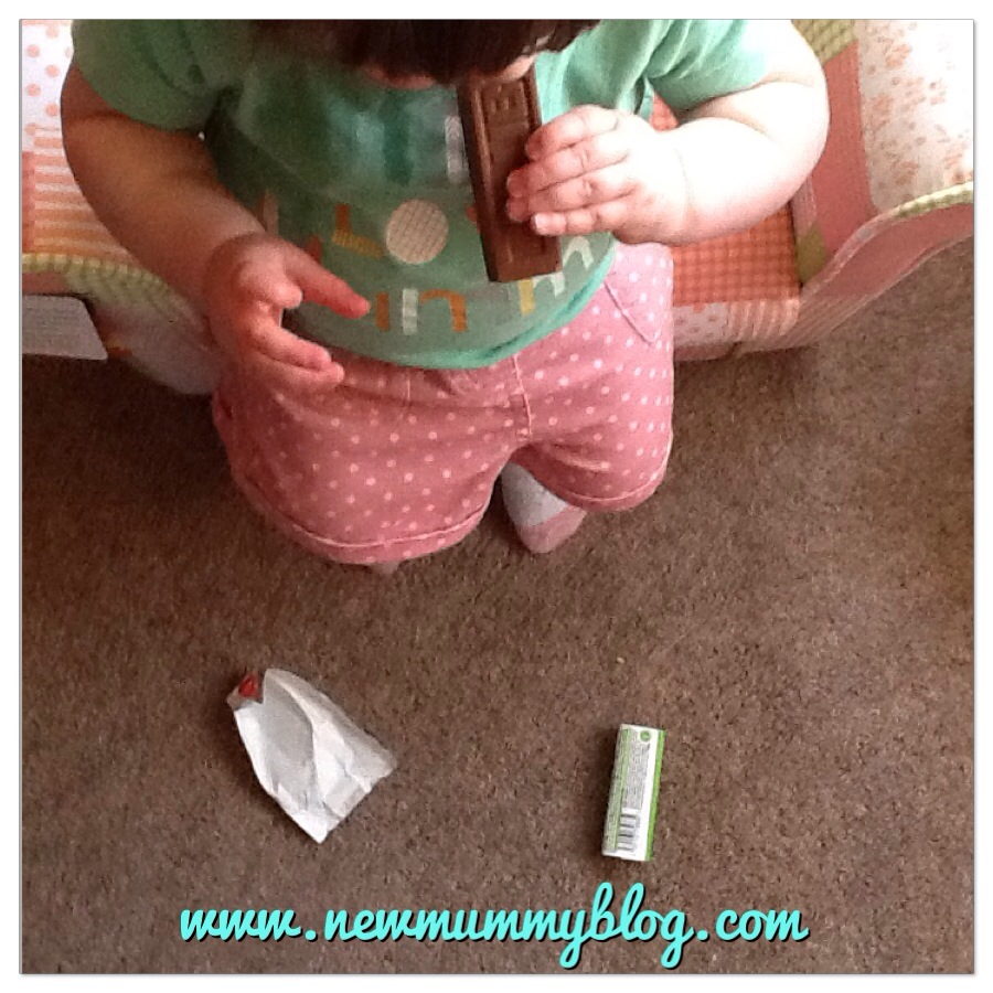 Toddler took a chocolate bar from the cupboard and ate it