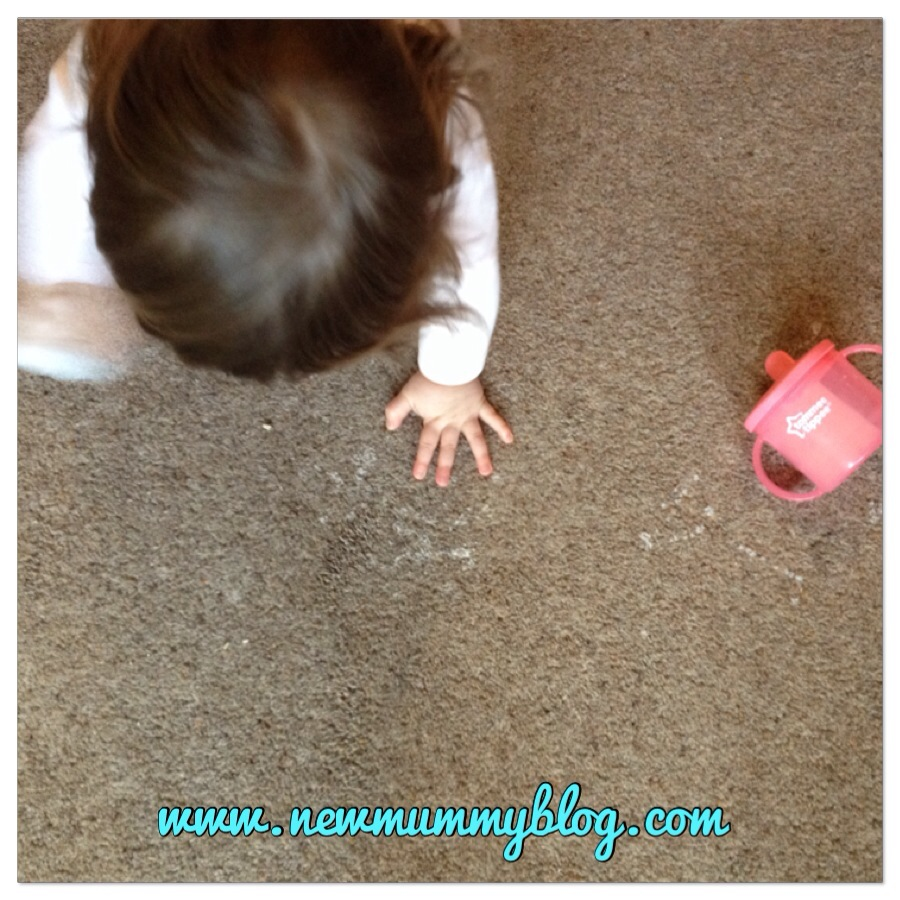 Spilt milk, copying mummy cleaning