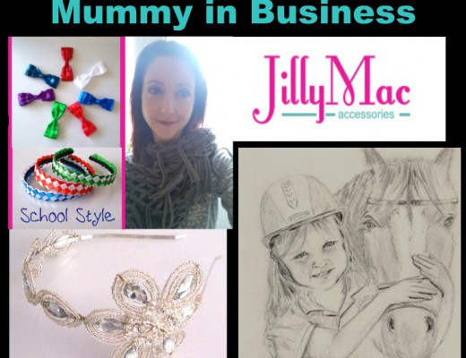 NMB 1- Jilly Mac Mummy In Business featuring photo of Jilly Mac, drawing of girl and horse, handmade tiara, and school style girls accessories