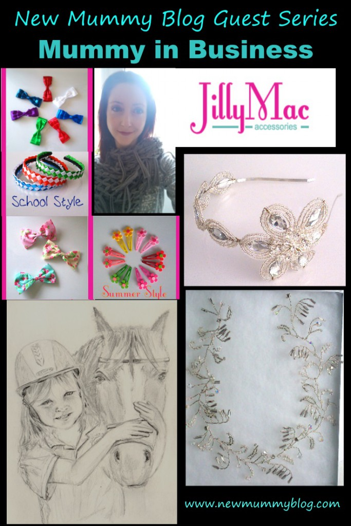 Pinterest Image Jilly Mac Mummy In Business featuring handmade necklaces drawn portrait of girl and horse and wedding tiara
