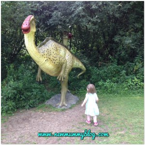 Jurassic Trail at Bridland toddler with dinosaur