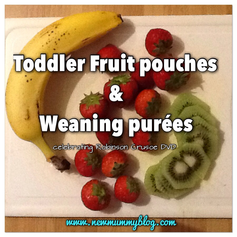 Weaning purees and toddler fruit pouches bananas strawberries kiwi
