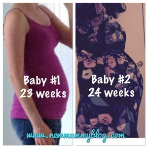 1st pregnancy vs 2nd pregnancy bump at 23 weeks and 24 weeks