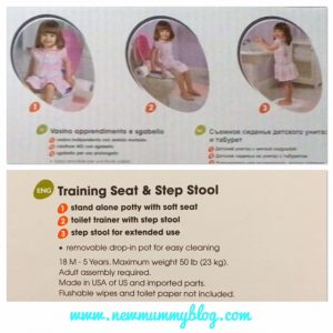 Review Potty Summer Infant Step by Step potty used on the adult toilet for older children and as a step