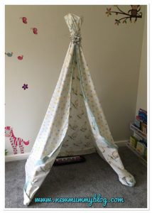 Instructions how to make a teepee - A homemade toddler teepee in New Mummy Blog playroom - an easy and quick to make using a duvet cover