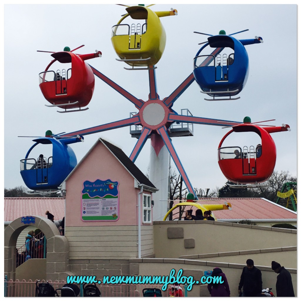 Mrs Rabbit's helicopter ride at Peppa Pig World in Southampton - our family day out with two year old Toddler H