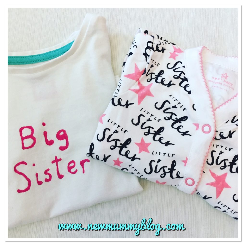gender reveal post - big sister t-shirt and little sister babygro