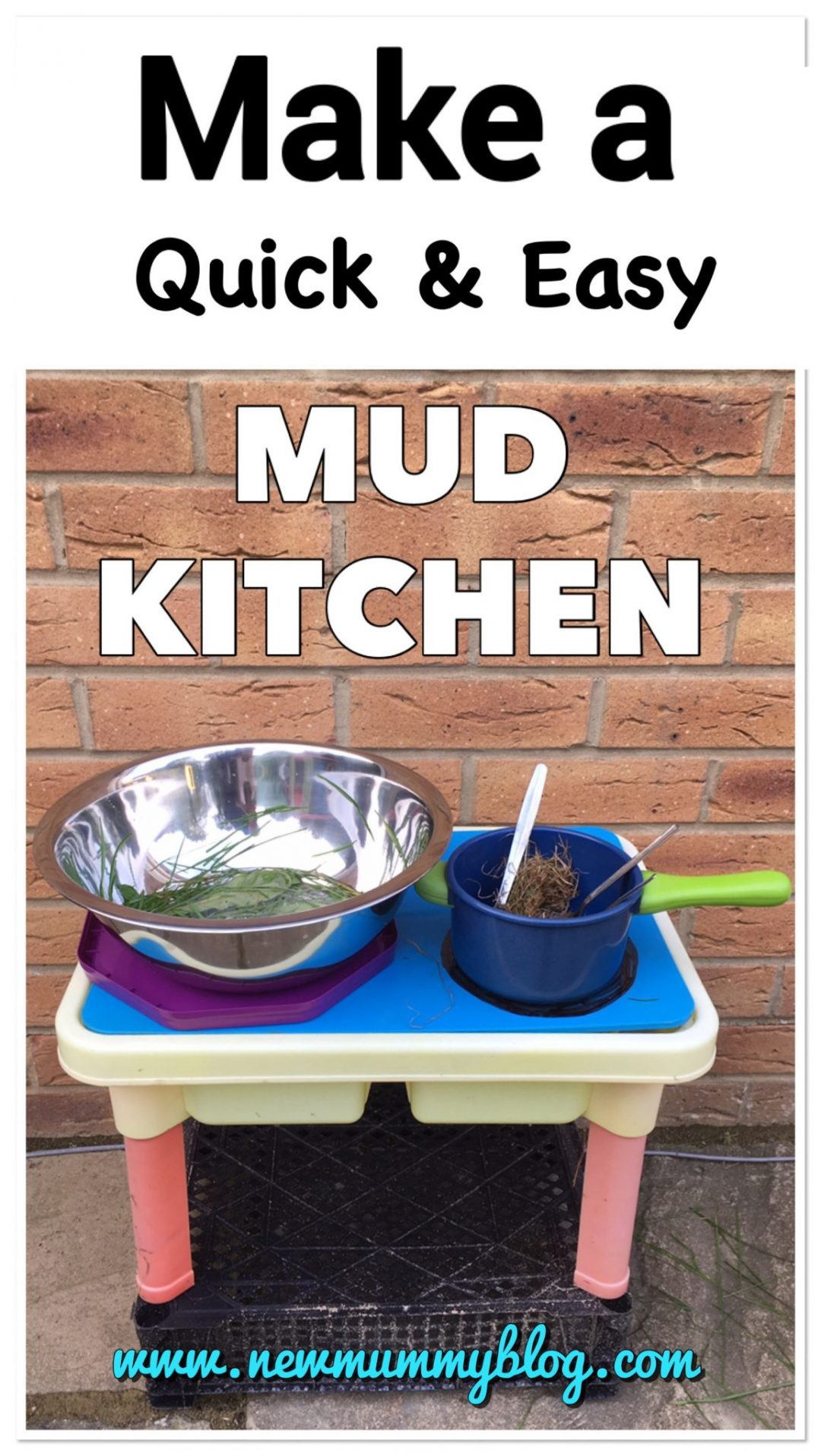 How to make a mud kitchen cheaply, quickly and easily on New Mummy Blog Toddler Activities for the Garden