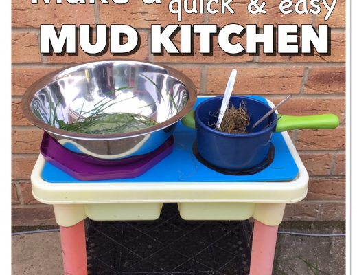 How to make a quick mud kitchen for kids outside play, pretend play learning