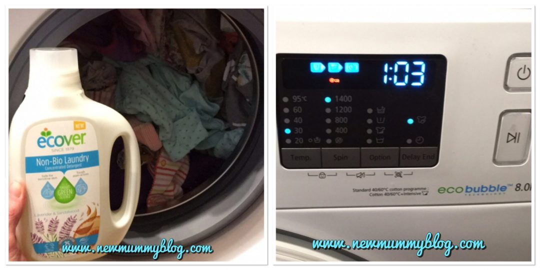 Washing with Ecover non-bio concentrated detergent at 30C, sensitive skin, poonami baby grows newborn  new mummy
