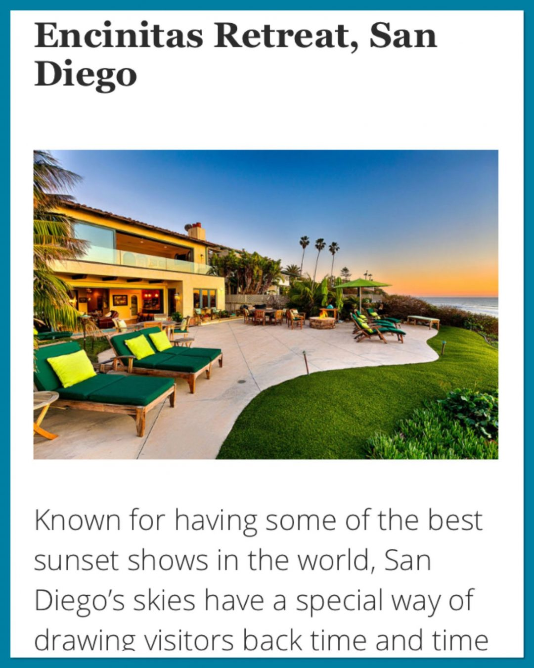 San Diego luxury beach front property and sunset I dream of for ending our Route 1 road trip - screenshot of Luxury Retreats Magazine