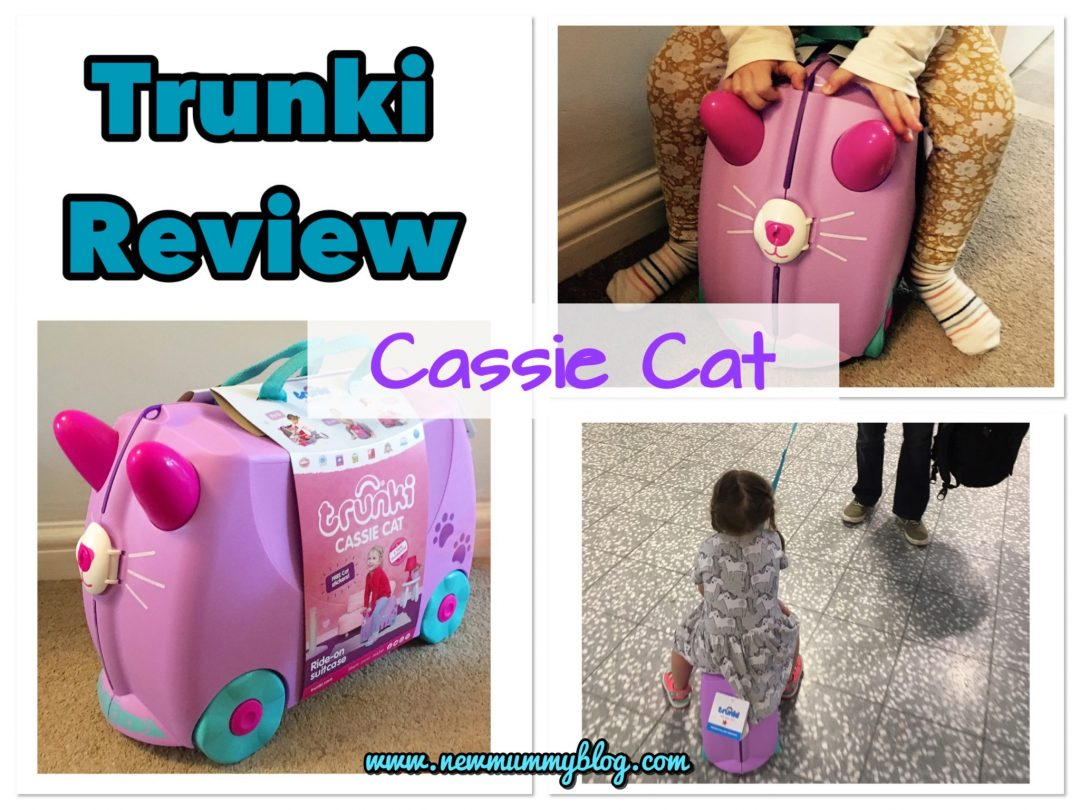Trunki review pink and purple Cassie Cat ride-on suitcase for holiday