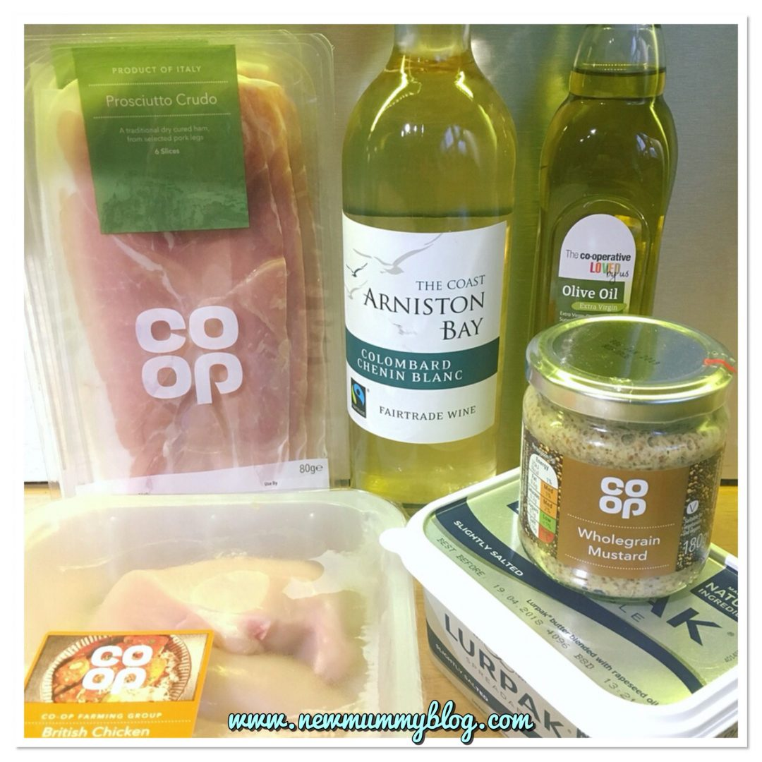 Ingredients for Chicken with sage, mustard and white wine recipe for fairtrade fortnight with the Co-op