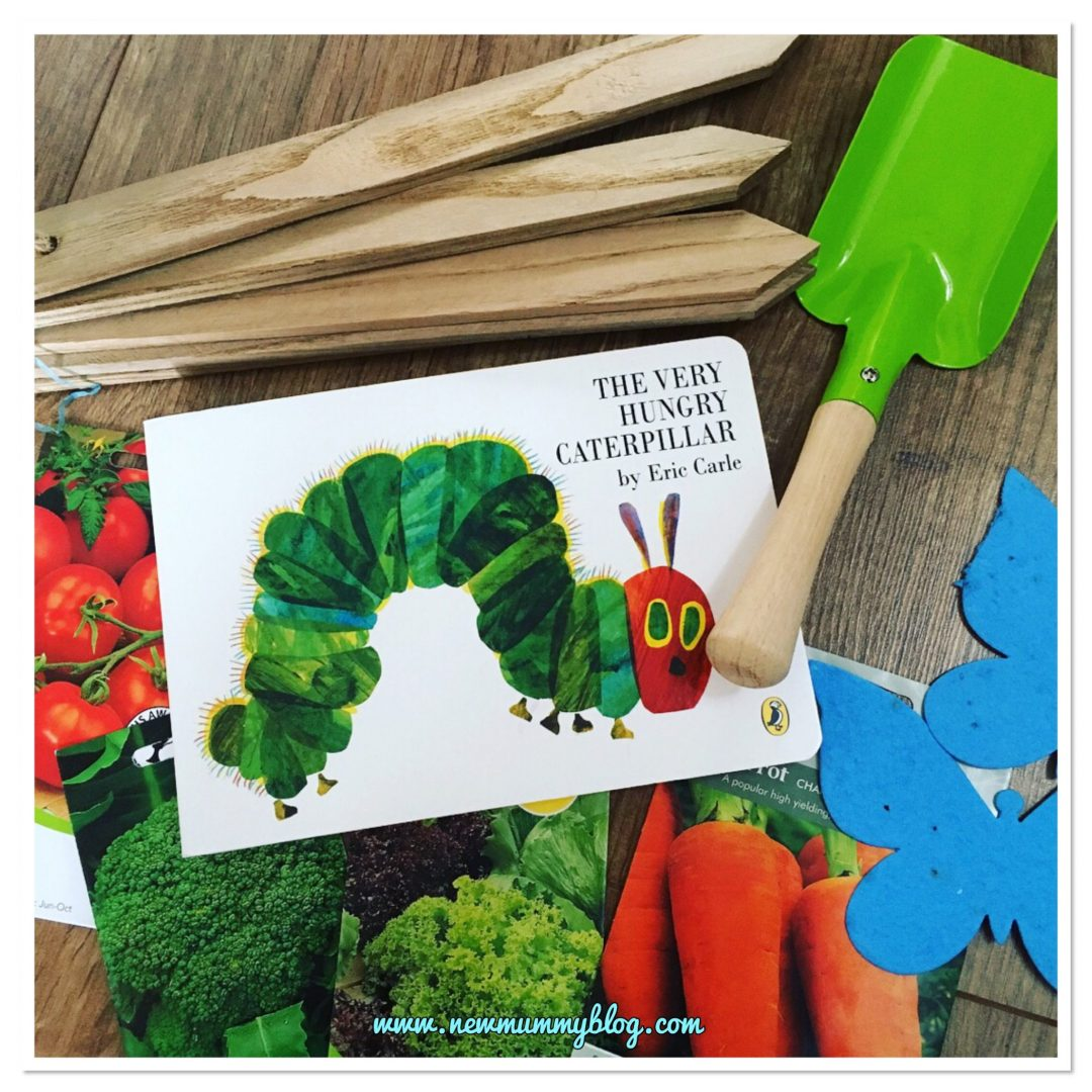 Gardening with a toddler - kids gardening tools, seeds, plant stakes, The Hungry Catepillar Book - gardening