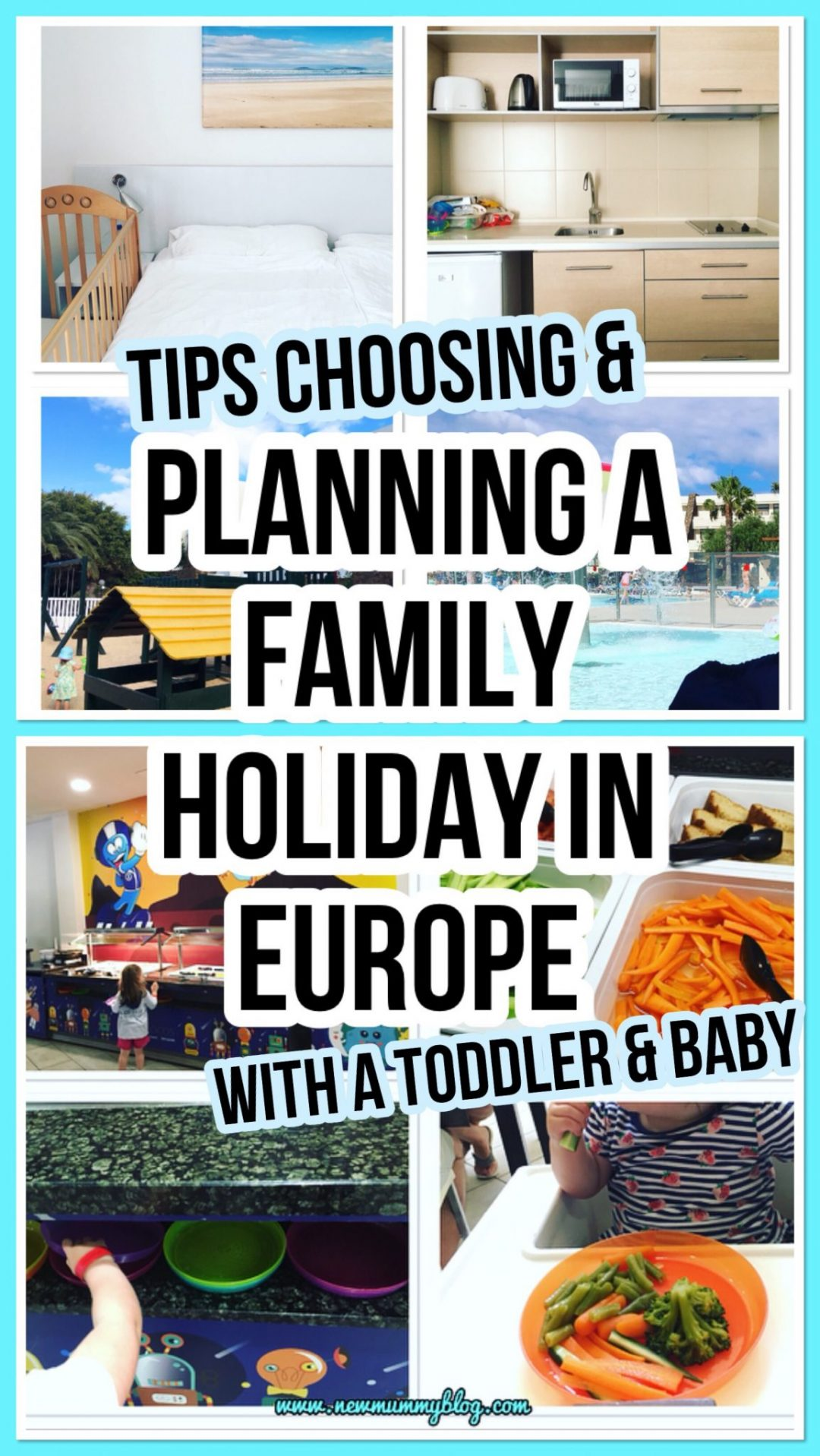 Tips for choosing and planning a brilliant successful family holiday in Europe - all inclusive hotel features including one bedroom, kitchen, play park, splash kids pool and kids buffet