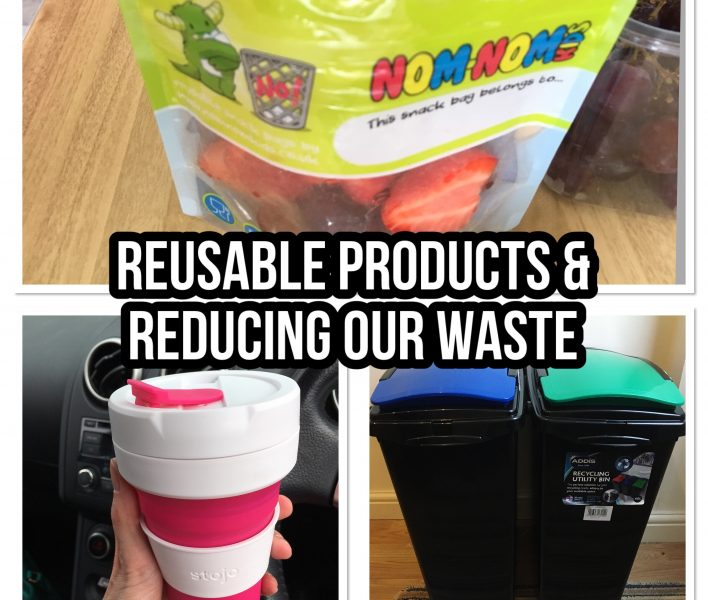 Reducing plastic, Reducing our waste, products to deduct our waste, collapsible reusable coffee cup Stojo, Nom Nom kids reusable snack and smoothie pouches - #zerowasteweek zero waste week