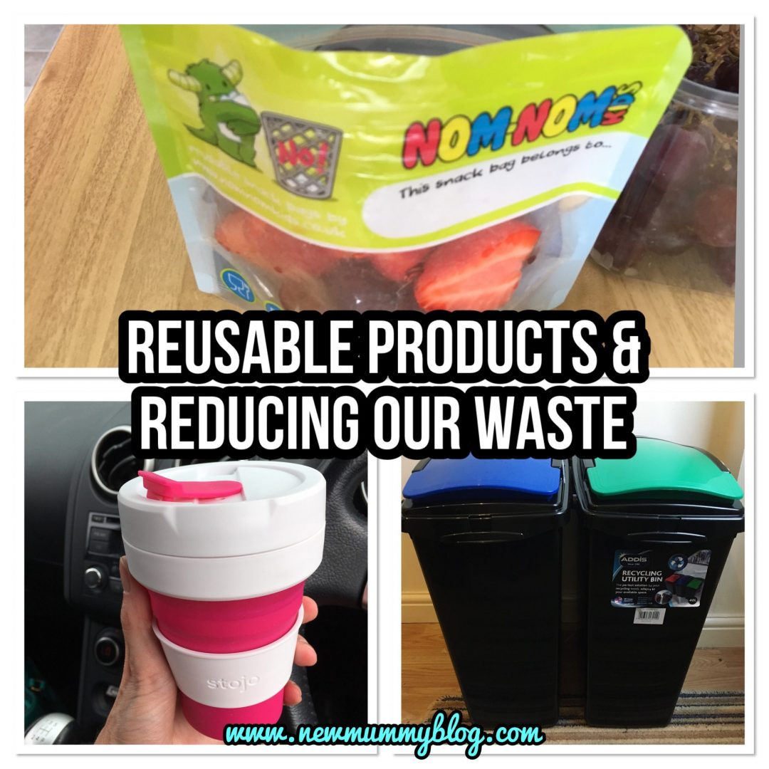 Reducing our waste, products to deduct our waste, collapsible reusable coffee cup Stojo, Nom Nom kids reusable snack and smoothie pouches - #zerowasteweek zero waste week