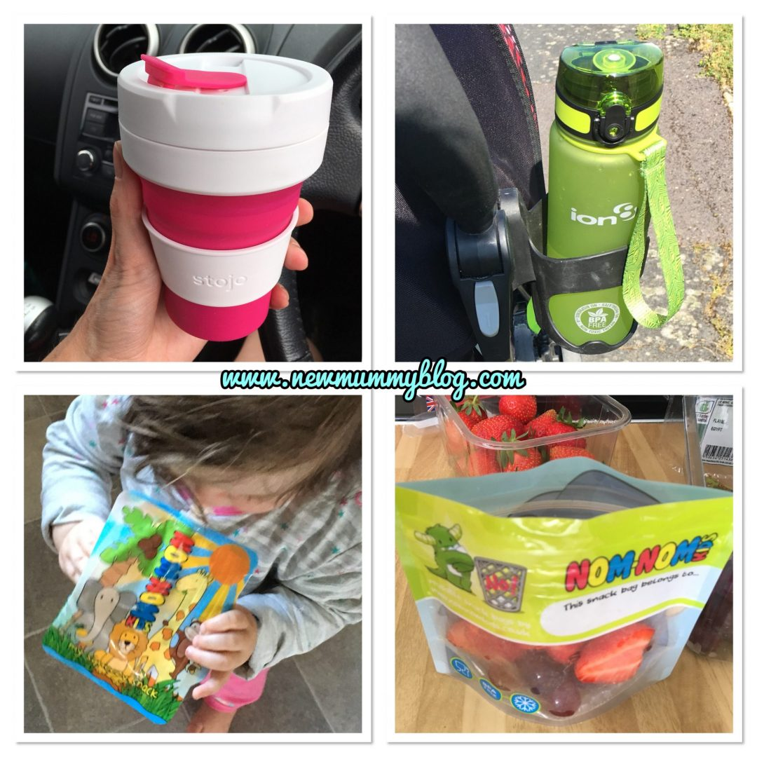 Everyday ways we're reducing plastic waste, Stojo reusable coffee cup, Ion8 leakproof drinks bottle, Nom Nom Kids baby food pouch, Nom Nom Kids snack pouches - easy everyday ways to produce less waste