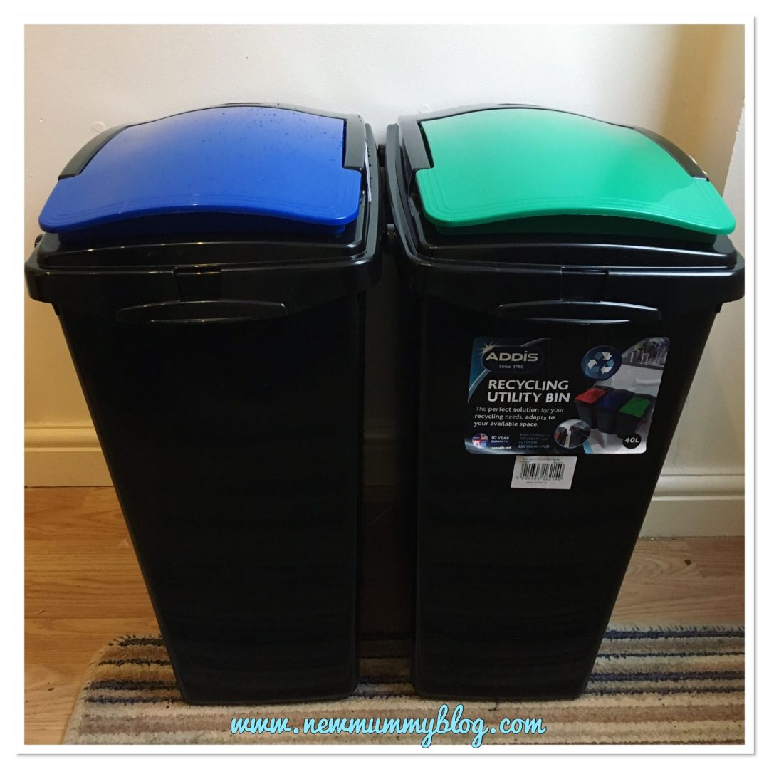Recycling bins for easy recycling and sorting waste as we go - easy ways we're producing less waste and recycling easier red and green recycling bin lids