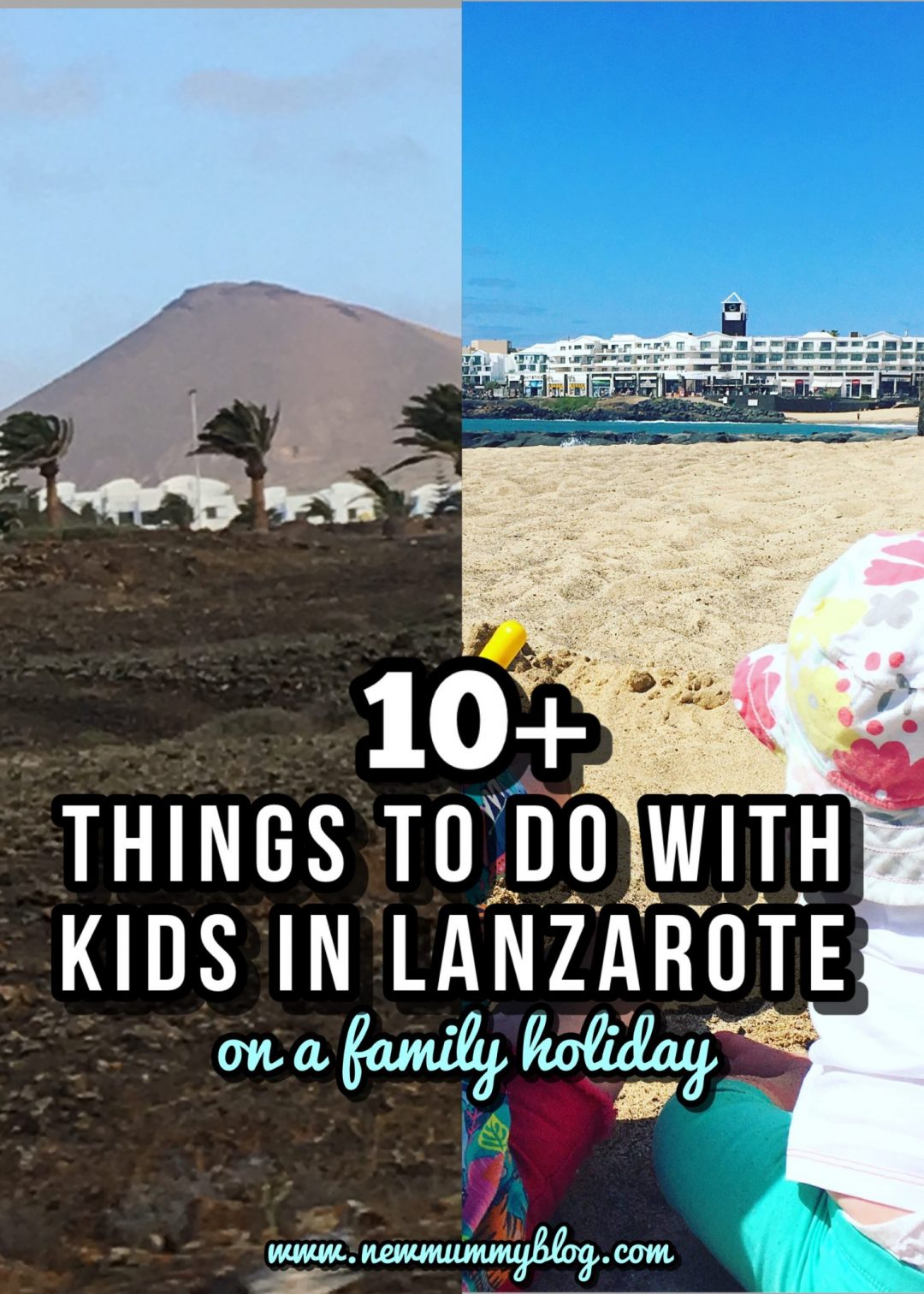 10+ things to do in Lanzarote with kids on a family holiday - holiday inspiration and fun days out. Kids at the beach in Costa Tiguise and volcanos
