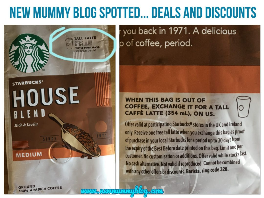 Free Starbucks latte with ground coffee bag deals and discounts on New Mummy Blog parenting moneysaving blogger