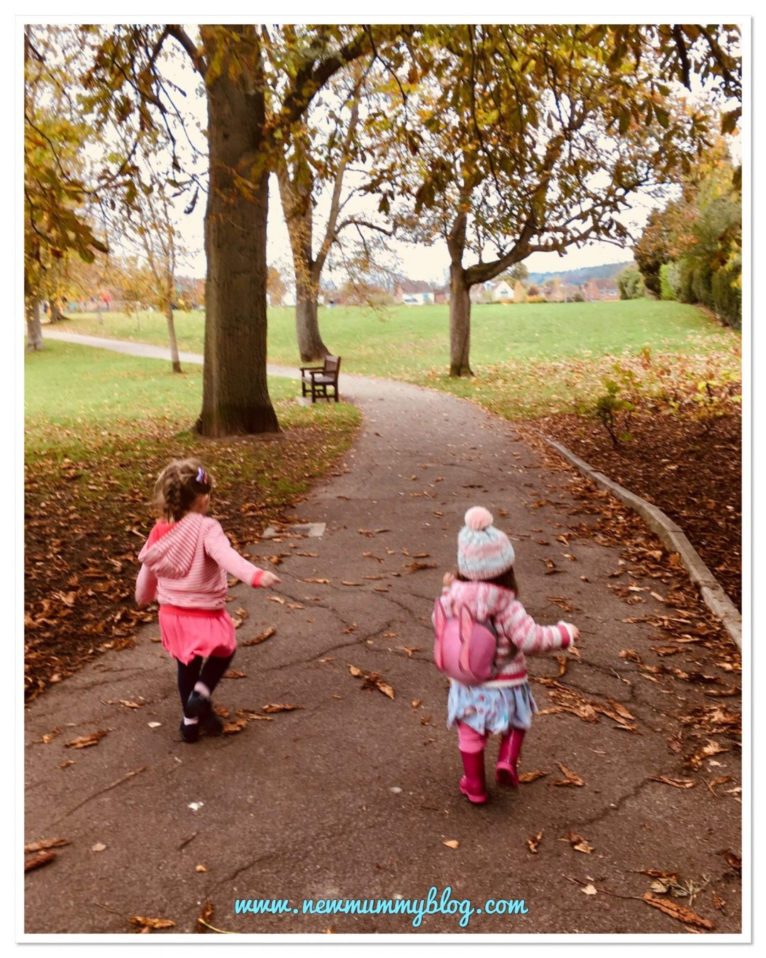 Sisters running in the park new mummy blog escaping after being housebound with chicken pox