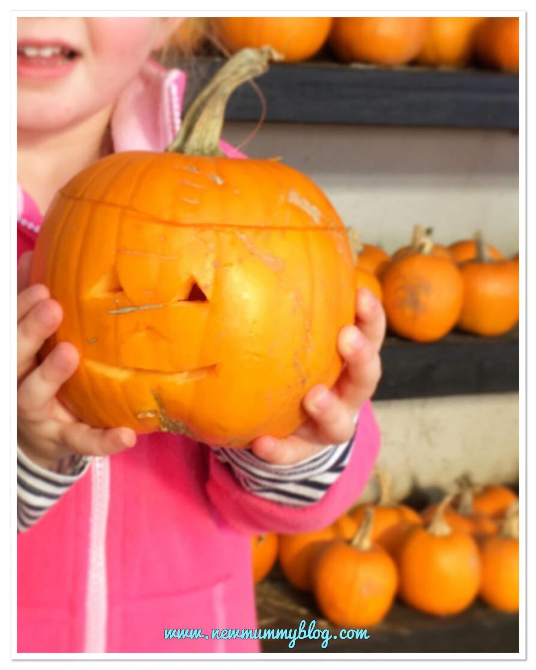 Carving a pumpkin at cattle country Halloween trail in south Gloucestershire on our day out