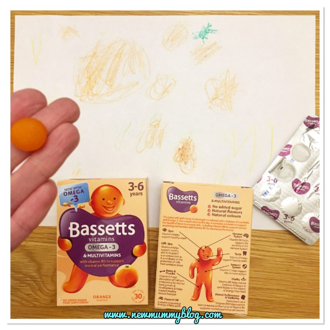 Bassetts Vitamins Omega-3 + Multivitamins Orange Flavour Pastilles 3 year old drawing oranges and review