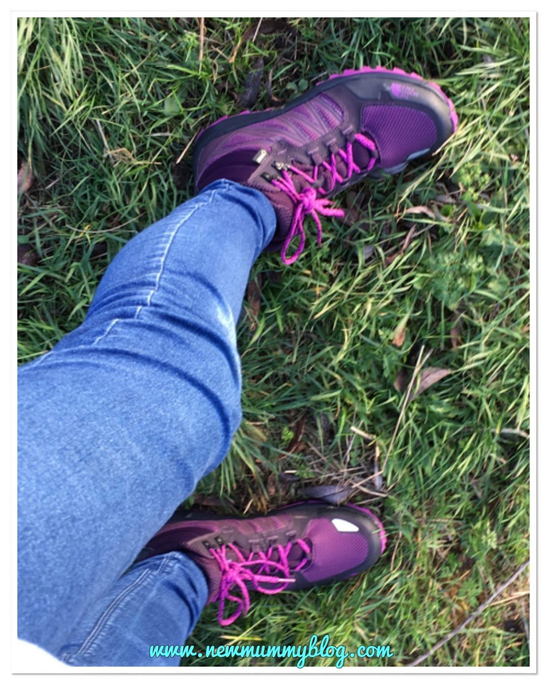 Out walking wearing my new The North Face walking boots in pink/purple/black from Blacks and Millets