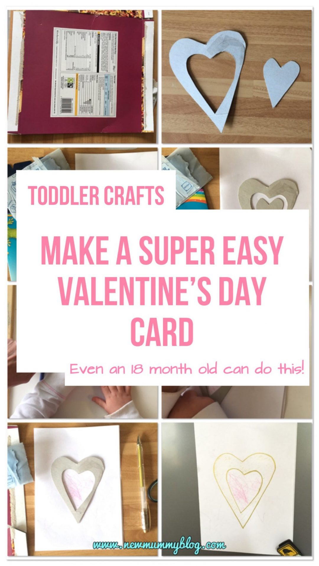 How a toddler can make a Valentine's Day card using crayons and a stencil! Also great for parents too and preschoolers