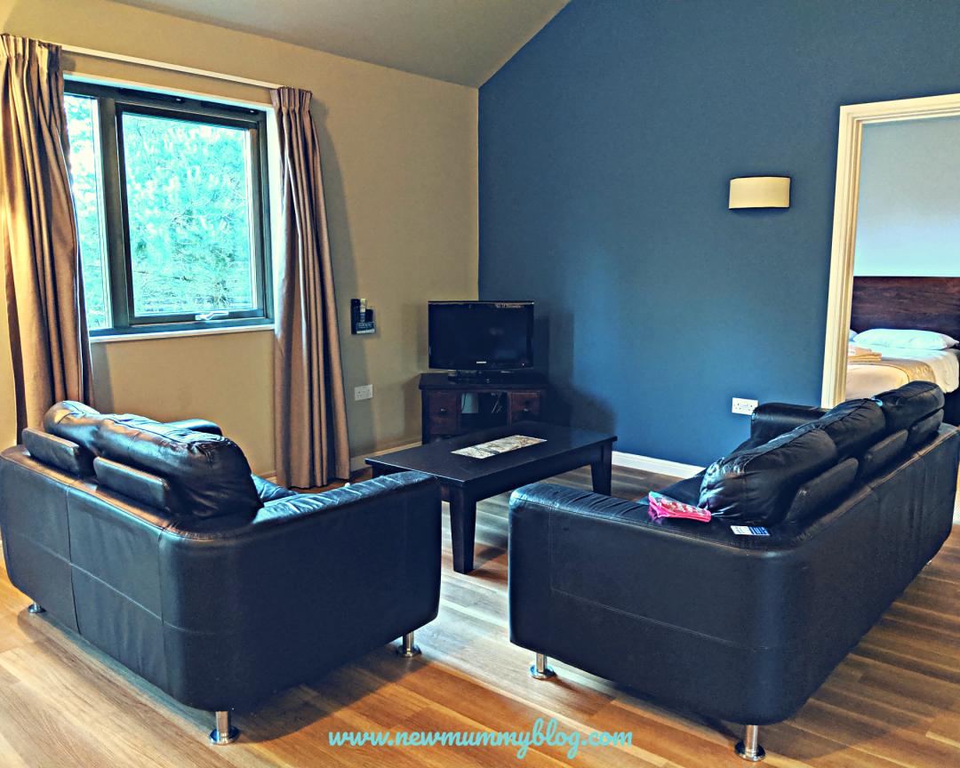 Caldey lodge bluestone Wales living room sofas TV DVD player comfy accomodation 2 bed lodge