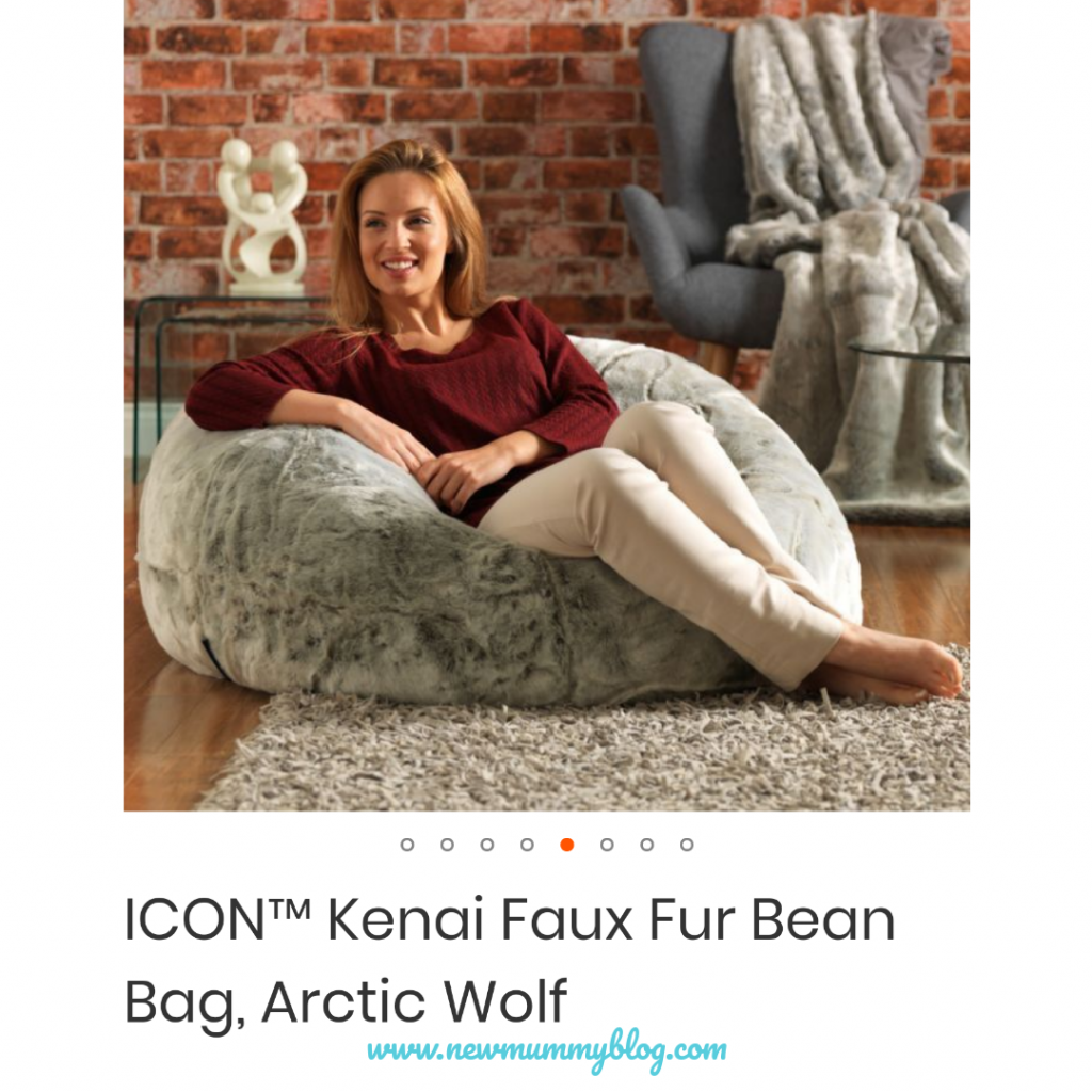 Bean Bag Bazaar ICON Kenai Faux Fur Bean Bag - adult bean bag Arctic Wolf grey