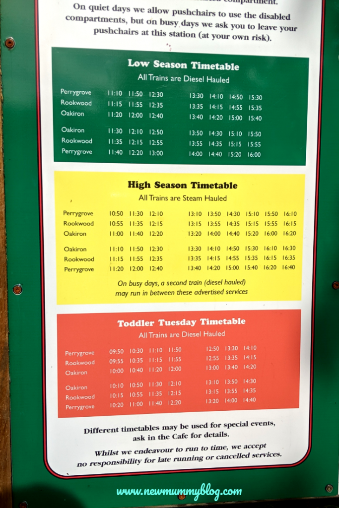 Perrygrove Railway train timetable plan your visit