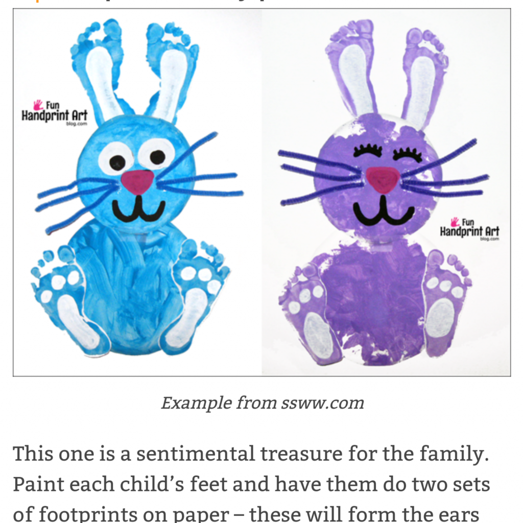 Free Easter activities during schools closed COVID19 -  Teachwire www.ssww.com Easter bunny footprint art
