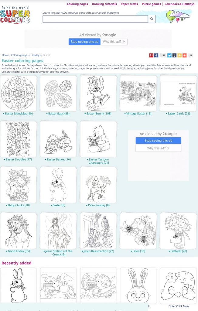 Free Easter activities during schools closed COVID19 - free colouring printables