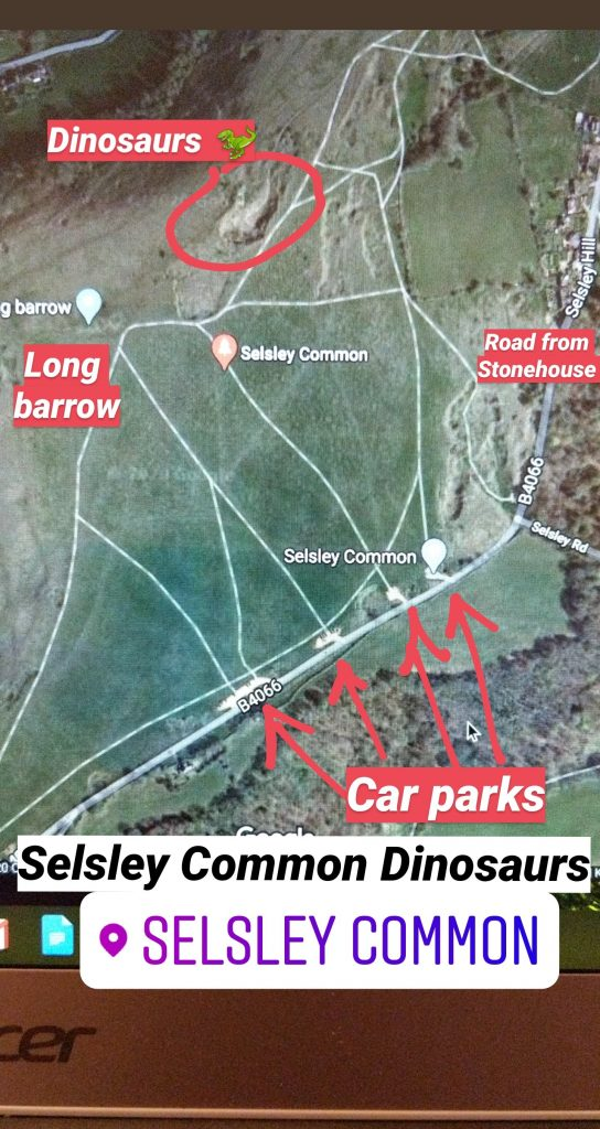 Map of Selsley Common parking and how to find where the dinosaurs are in Selsley Quarry