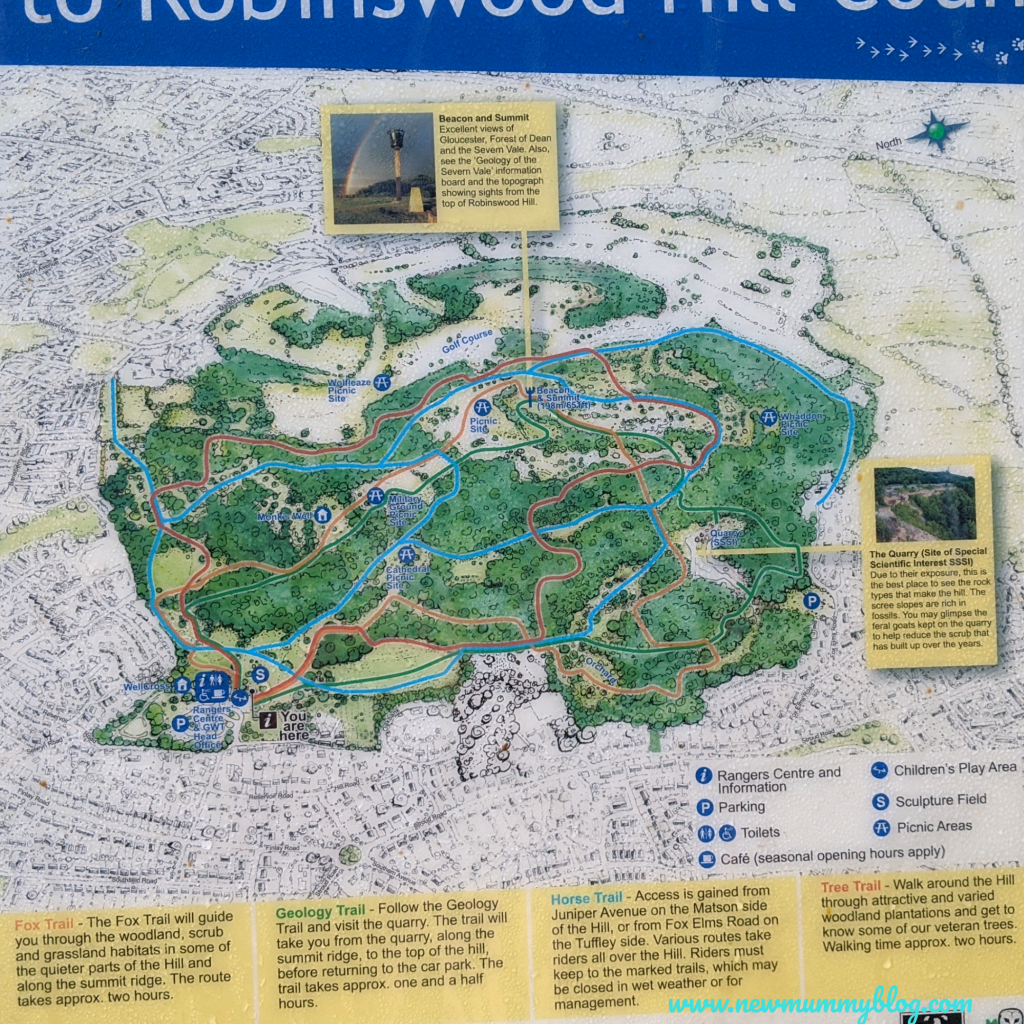 Robinswood Hill walking map routes family walks near Cheltenham