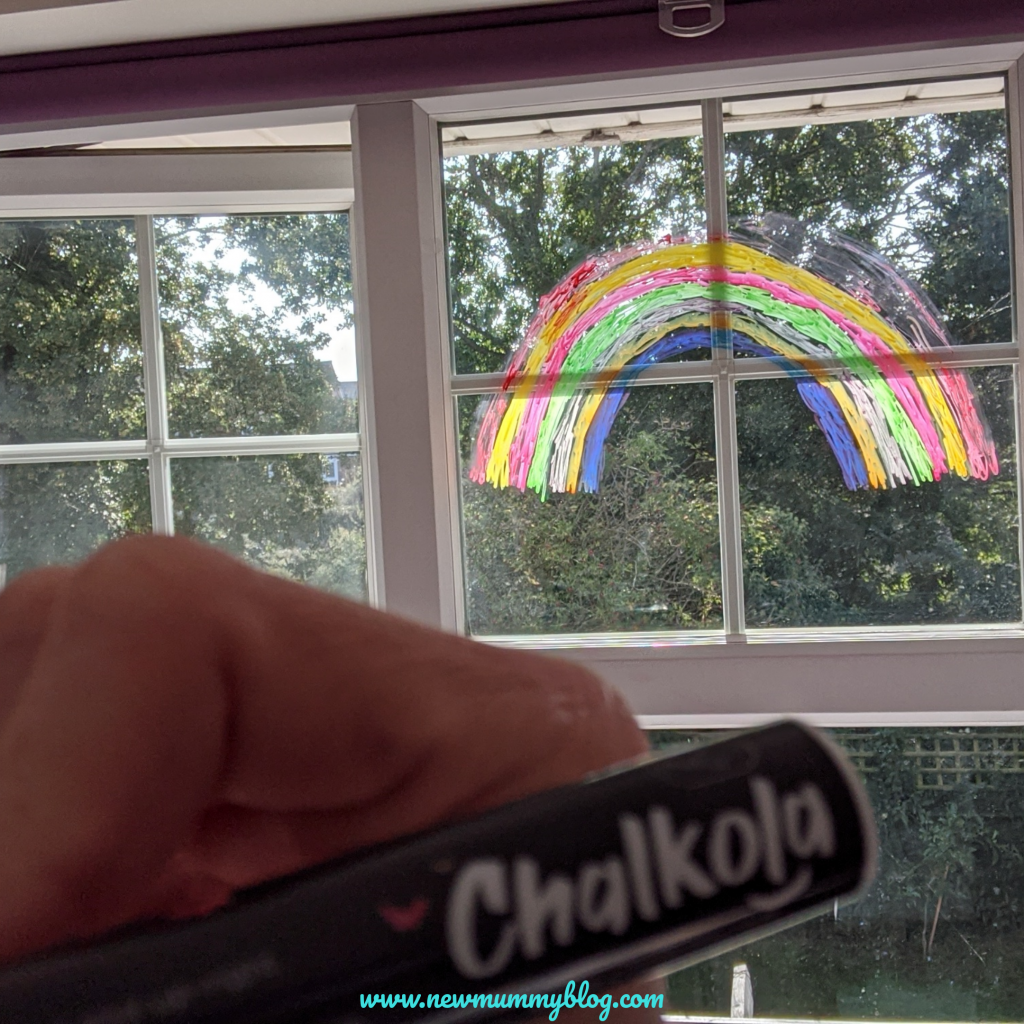 Use chalk markers on glass - Chalkola chalk marker with rainbow on the window