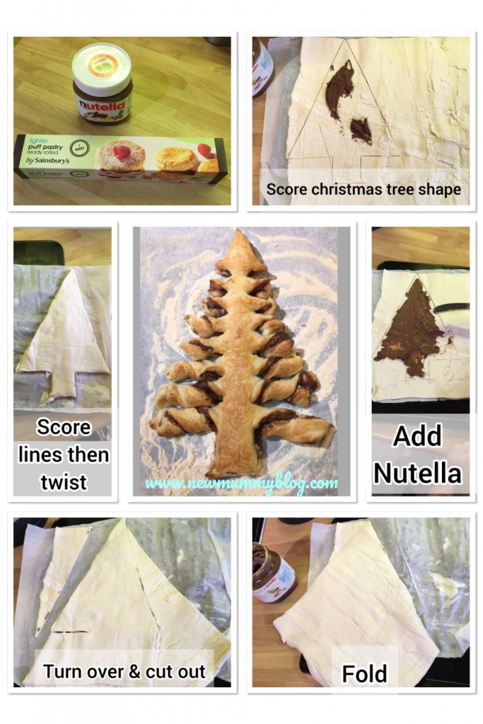 Christmas tree Nutella Chocolate pastry instructions for Christmas morning breakfast