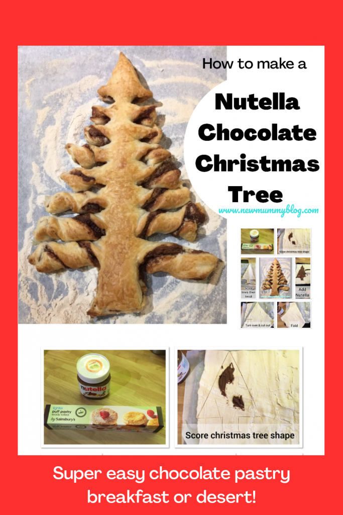 Nutella Christmas tree chocolate pastry - super easy to make for breakfast or desert